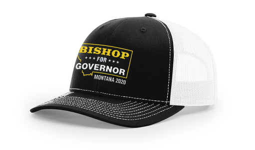 Lyman Bishop For Governor of Montana 2020 Black/White Trucker Hat