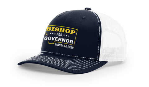 Lyman Bishop For Governor of Montana 2020 Navy/White Trucker Hat