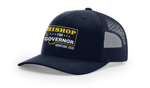 Image of Lyman Bishop For Governor of Montana 2020 Navy Trucker Hat