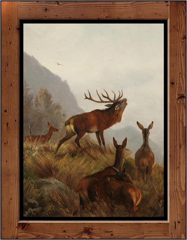 "Carl Friedrich Deiker  ""Red Deer Pack""  (circa 1870)"
