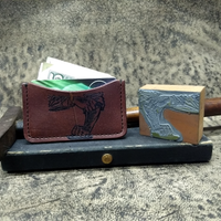 Leather Minimalist Wallet using an Vintage Letterpress Stamp