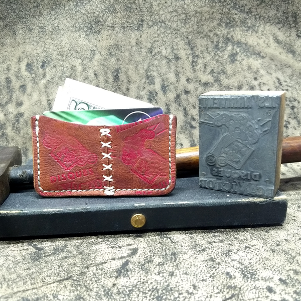 Unique Leather Minimalist Wallet using an Antique Letterpress Stamp