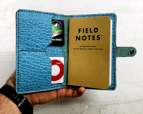 Big Horn Bison Leather Pocket Size Journal Cover with Snap Closure