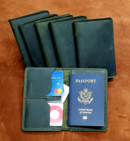 Grimbeard Green Leather Passport and Pocket Size Journal Cover
