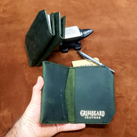 Grimbeard Green Leather Passport and Pocket Size Journal Cover with Pen Holder