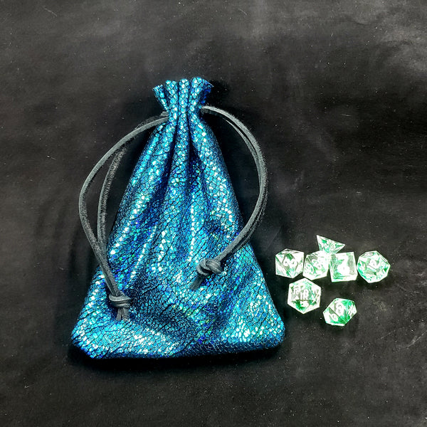 Metallic Blue Leather Dice Bag Thick Suede