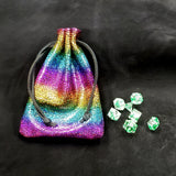 Metallic Rainbow Leather Dice Bag Thick Suede
