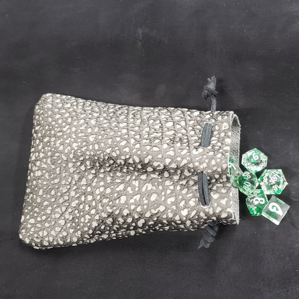 Stone Dragon Skin Leather Dice Bag in Gray and Black