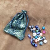 Green Dragon Belly Leather Dice Bag Metallic Thick Suede