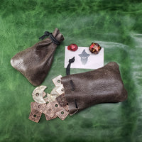 Mossy Gray Leather Dice Bag