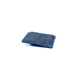 Exotic African Cape Buffalo Leather Minimalist Wallet Gray with Light Blue Thread