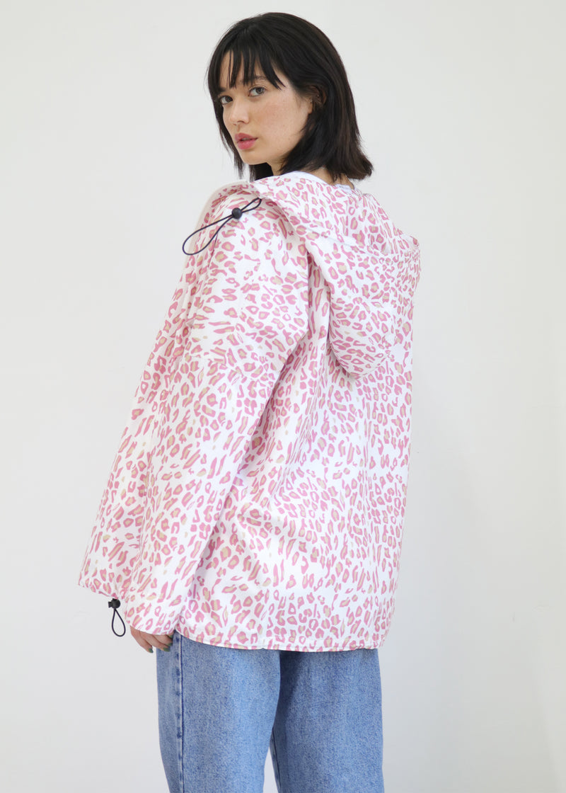 pink leopard print design raincoat