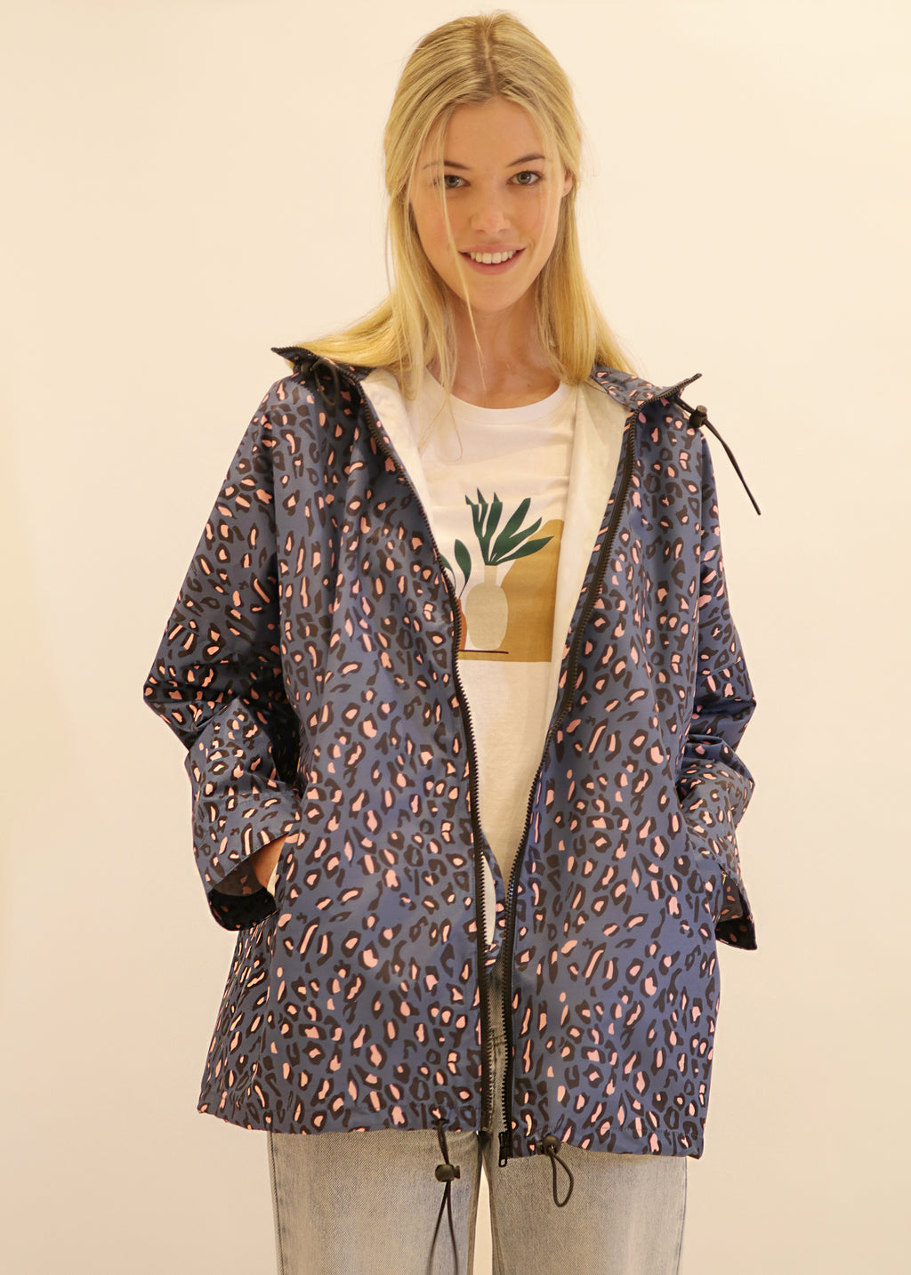 Elizabeth Leopard Raincoat In Blue