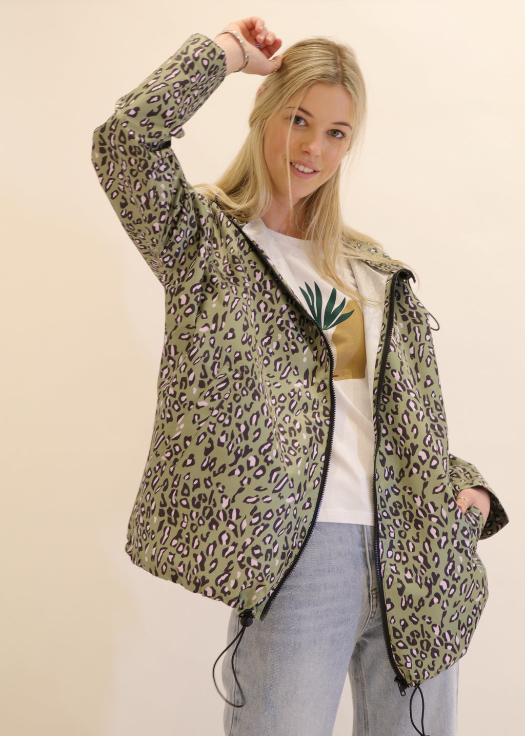 Leopard  Print  Raincoat In avocado green