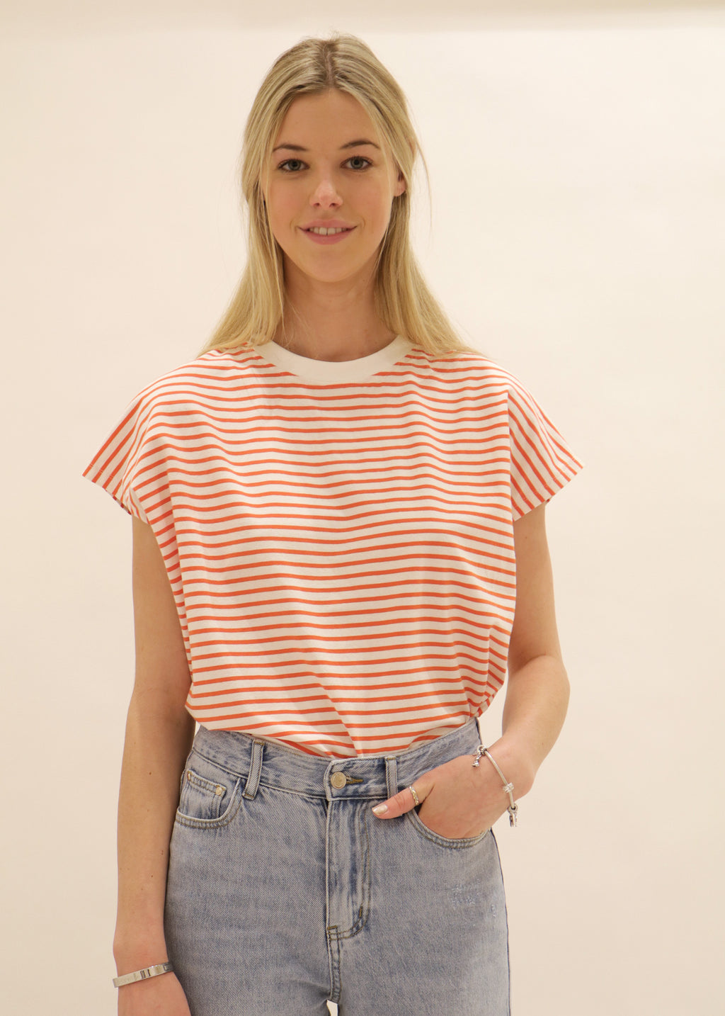 Weekday Striped Tee in white and orange stripe