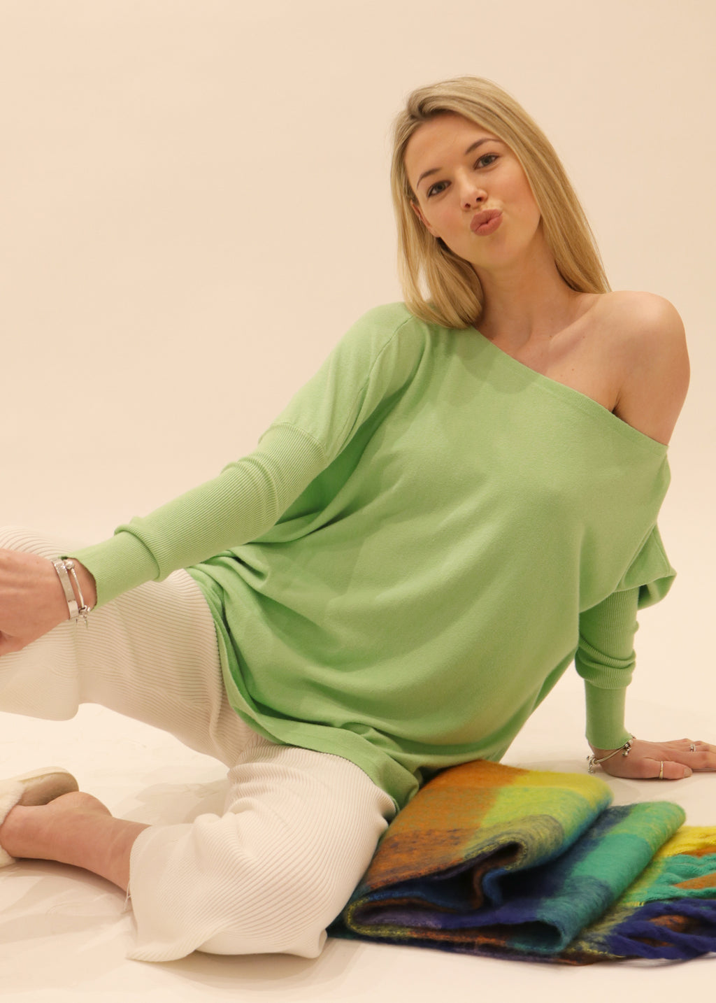 Amazing Knit Jumper, S005 Jumper, soft feel stretch knit sweater in apple green