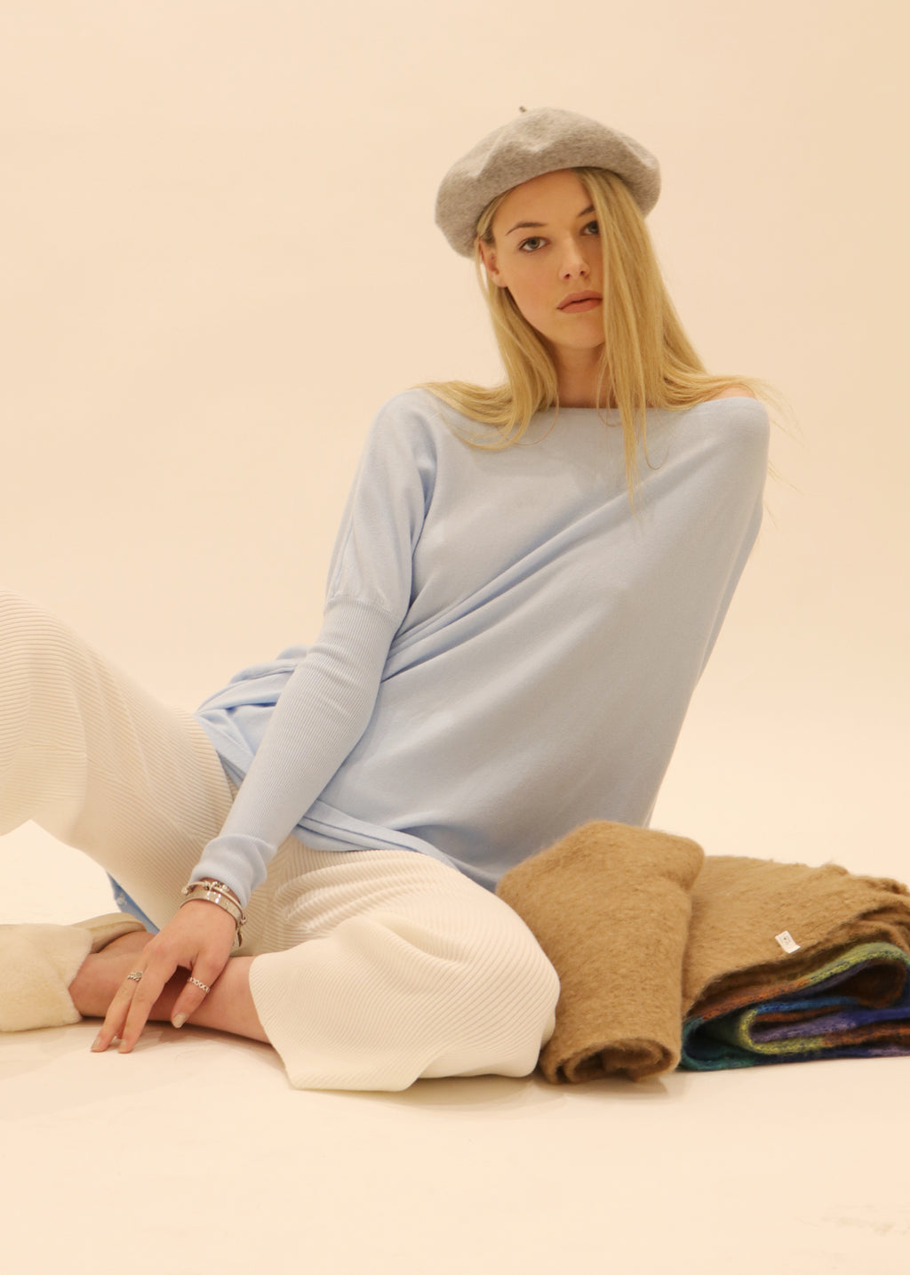 Amazing Knit Jumper, S005 Jumper, soft feel stretch knit sweater in baby blue