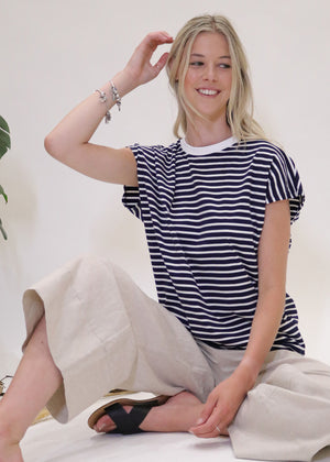 Weekday Striped Tee in Blue Depths