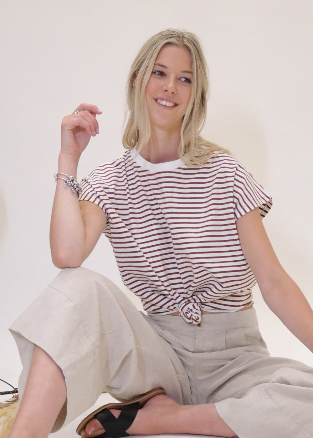 Weekday Striped Tee in Beige