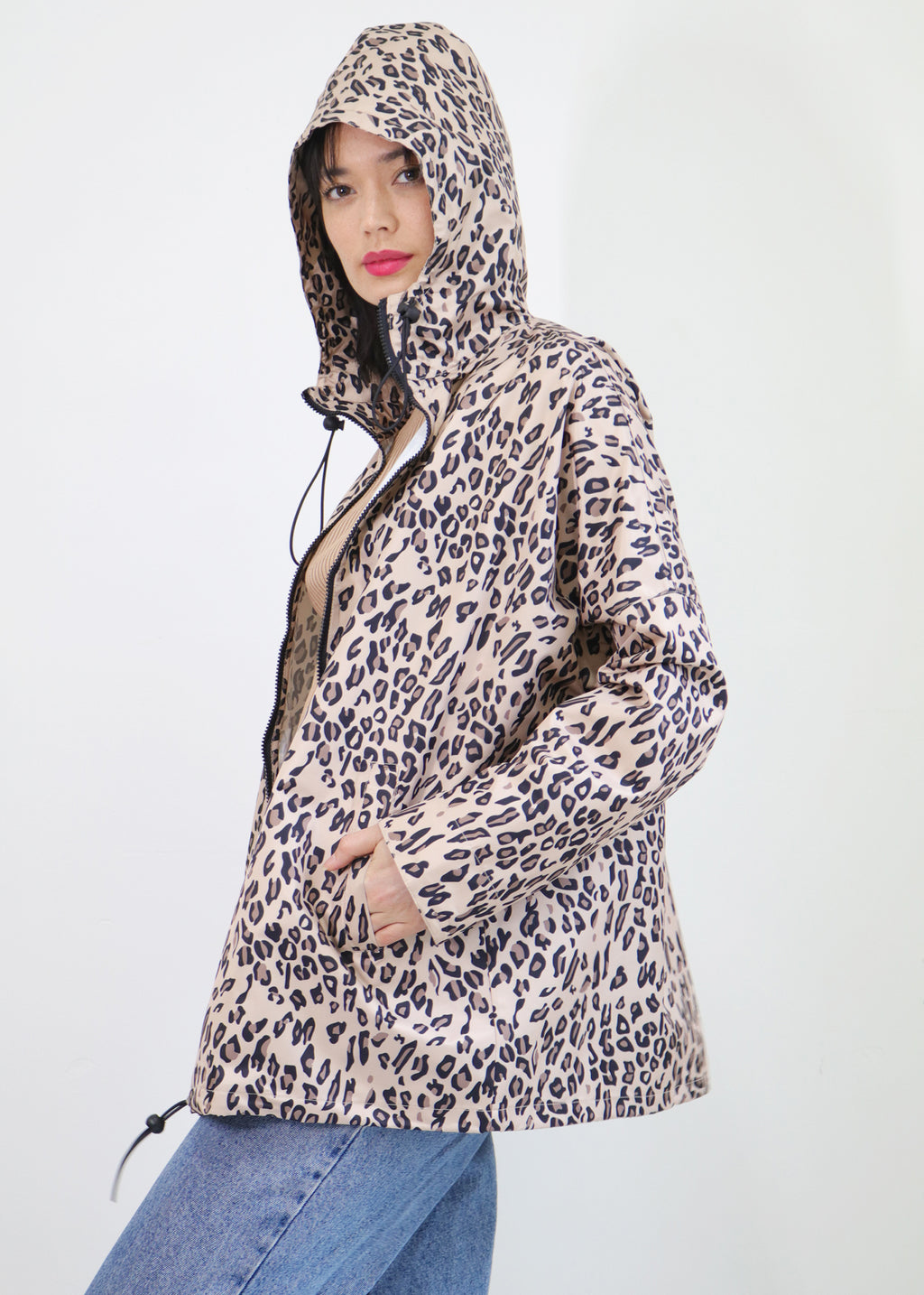 Melbourne Base  Leopard Graphic Print Raincoat