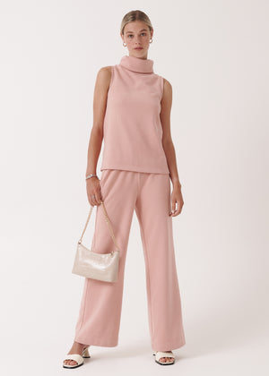 Charleigh Co Ord High Neck Top Trousers Two-Piece Set in Chalked Pint