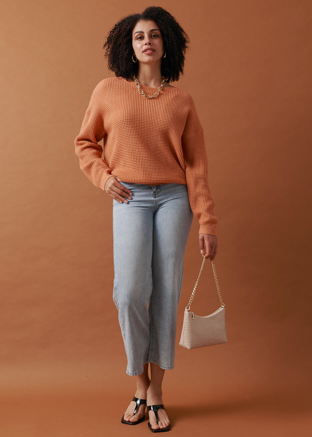 Textured waffle knit Sweater in orange