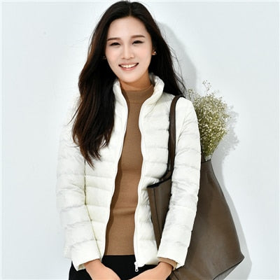 13 Color Options Winter Women Ultra Light Down Jacket 90% Duck Down Hooded Jackets Long Sleeve Warm Slim Coat  Asia size S - 3XL