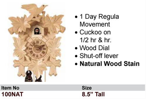 Black Forest 1-Day Carved Cuckoo Wall Clock (100NAT)