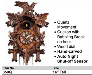 "Black Forest ""Hand Carved"" Quartz Cuckoo Wall Clock (350Q)"