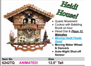 "Black Forest ""Heidi House"" Quartz Cuckoo Wall Clock (6242TQ)"