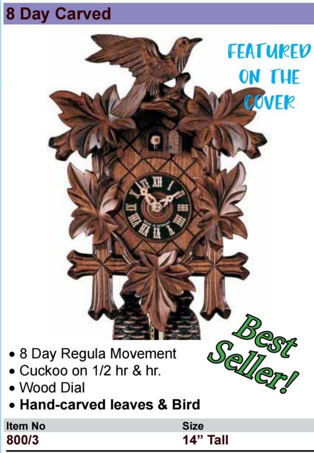 Black Forest 8-Day Carved Cuckoo Wall Clock (800/3) BEST SELLER