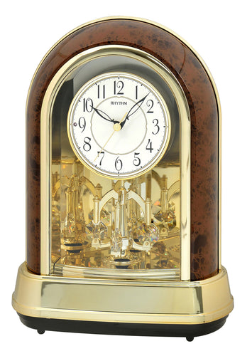 Rhythm Musical Motion Crystal Ducet II (Woodgrain) Mantel Clock