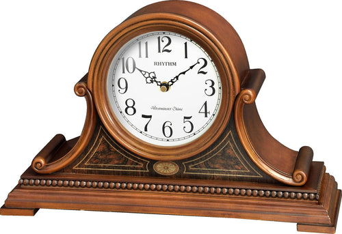 Rhythm Musical Lennox Wooden Mantel Clock