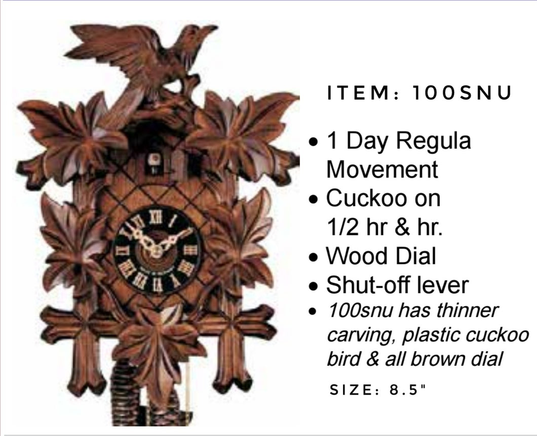 Black Forest 1- Day Carved Cuckoo Wall Clock (100SNU)
