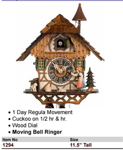 Black Forest 1-Day Chalet Bell Ringer Cuckoo Wall Clock (1294)