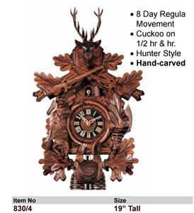 Black Forest 8-Day Carved Cuckoo Wall Clock (830/4)