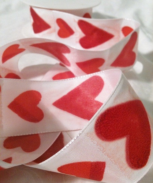 Heart Ribbon, White Ribbon with Red Hearts, 5m x 40mm