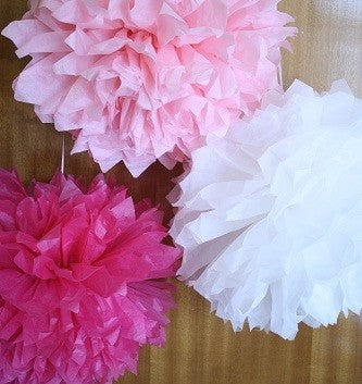 Pom - Poms - Pink, Baby Pink and White  (pack of 3)