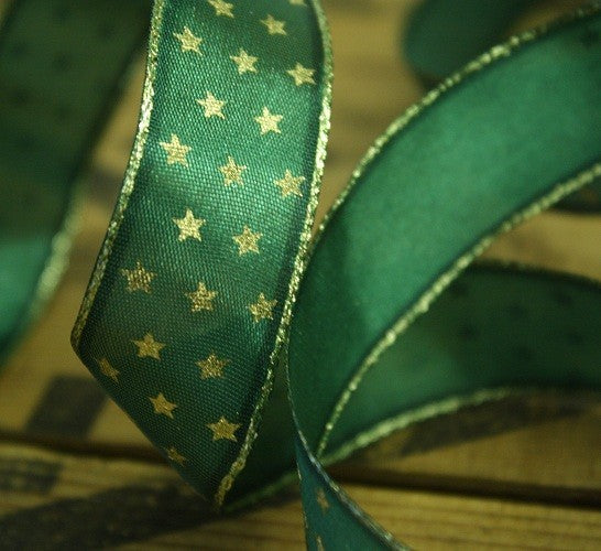 Ribbon - Wired Gold Stars, 25mmx20m, Available in Green, White & Purple
