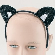 Sequin Cat Ears, Black and White