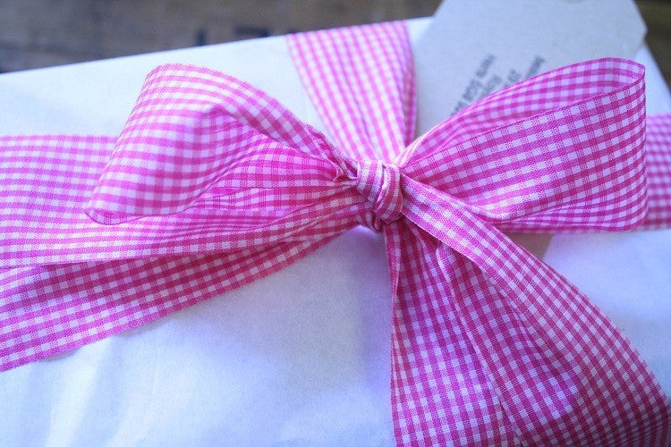 Gingham Ribbon Pink , Designer Cut Edge, 38mm