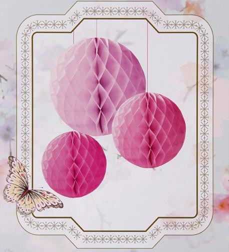 3 x Honeycomb Ball Decorations - Pink Mix