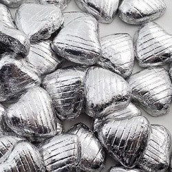 Chocolate Foil Wrapped Hearts Silver pkt. 100