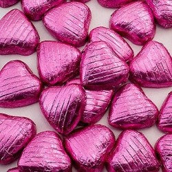 Chocolate Foil Wrapped Hearts Pink pkt. 100