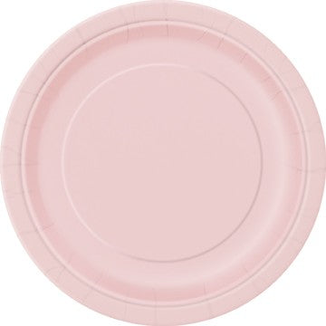 "Pale Pink 16 Pack of 9"" Paper Plates"