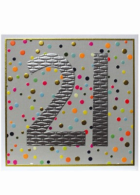 Polka Dot 21st Birthday Card