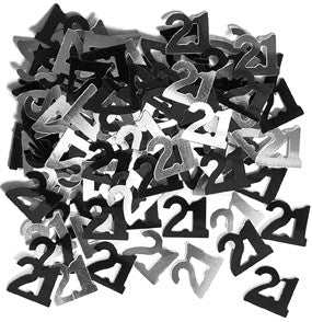 21st Black and Silver Foil Confetti