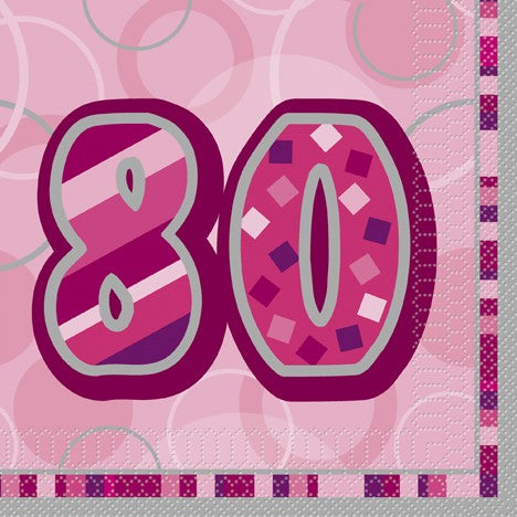 80th Pink Lunch Napkins
