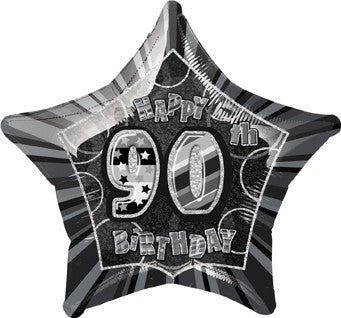 "90th Black and Silver Glitz 20"" Happy Birthday Foil Balloon"