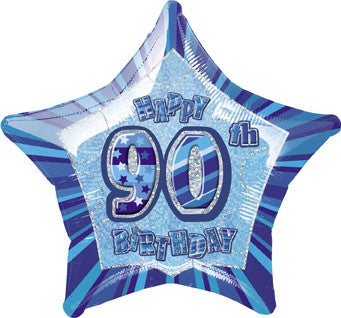 "90th Blue Glitz 20"" Happy Birthday Foil Balloon"